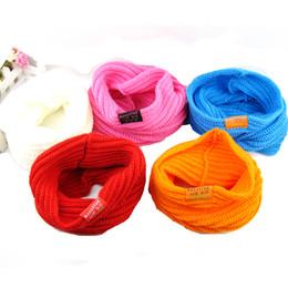 Promotion foulards en coton de marque de gros Grossiste-Hot Enfants Muffler Bébé coton chaud Foulard Garçons Filles Tricoté O Ring Style Designer Knitting Enfants Neck Warmer Neckerchief