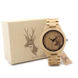BOBO BIRD Classic Bamboo Wooden Watch Elk Deer Head casual wristwatches bamboo band quartz watches for men women