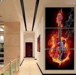 2017 фотографии панели 3 Панель настенной живописи Современный дом декорации Черный Пылающий Гитара Pop Art Pictures украшения на холст картины Печатный бюджет фотографии панели