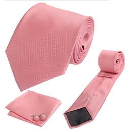 Tie Dk Pink Flame Plaid Hombre Hombre Flecha Krawatte Wide Jacquard Tejido Corbata Set Hanky Cufflink para el novio formal de la fiesta de boda pink formal tie for sale desde lazo formal de color rosa proveedores
