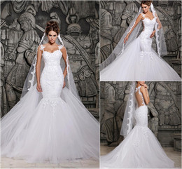 Wholesale Custom Made Lace Wedding Dresses Beautiful Court Train Illusion Transparent Back Beaded Lace Mermaid Bridal Gowns New Sexy Dresses