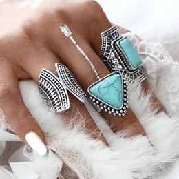 3pcs Set Boho Vintage Punk Silver Color Stone Midi Finger Rings For Women  Men Bohemian Ring Set Jewelry Anillos