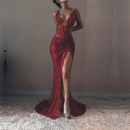 Mermaid Lace Sexy Prom Dresses Trumpet Plunging V Neck High Front Split Evening Gowns High Quality Formal Celebrity Dresses