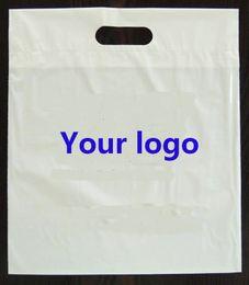 Logotipo bolsa de plástico paquete en venta-Las ventas al por mayor 500pcs / lot al por mayor personalizaron la impresión de la insignia de la compañía que empaquetaba bolsos de compras de empaquetado plásticos