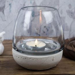 Wholesale DH Industry style Tealight Holder Glass cup candle holder concrete basement terrarium Wedding Candlestick Home Bar Decoration