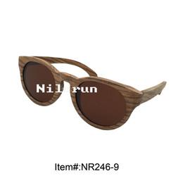 fashion oval brown lenses zebra wood sunglasses