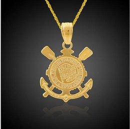 Wholesale 18K Gold Plated Christianity Jewelry Jesus Cross Pendant Anchor Pendant Bible Corinthians Necklace Nautical Jewelry Hip Hop