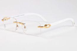 Wholesale Rimless Sunglasses Men Glasses Wood Bamboo and Metal Frame Beige Brown Black Buffalo Brown Black Clear Lenses Eyewear