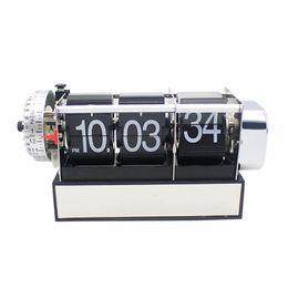 Wholesale Piece Colors Creative Design Auto Flip Mini Alarm Desktop Clock For Art Home Bedroom Decoration Table Clock Black White
