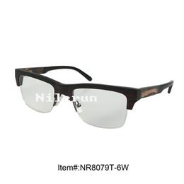 luxury classic ebony wood semi-rim optical glasses