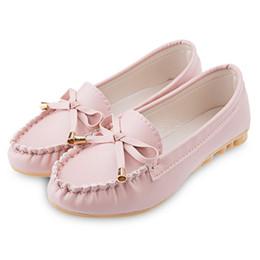 Wholesale 2016 Plus Size Flat Shoes Solid Color Flats Women PU Leather Female Moccasins Scrub Bowknot Women s Flats Mother Shoes