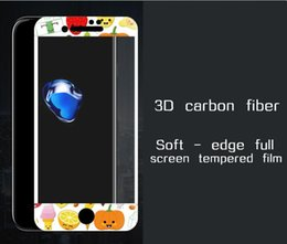 3D painted embossed custom apple iPhone7 full screen soft edge carbon fiber mobile phone toughened glass film
