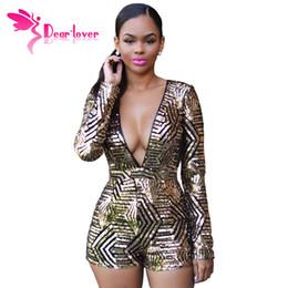 Descuento las mujeres atractivas de oro Dear Lover Sexy Womens Long Sleeve Jumpsuit Black Gold Sequin Backless Deep-V Pantalones Cortos Clubwear Macacao LC60841