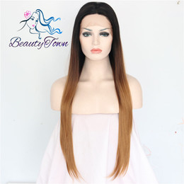 "100% Brand New High Quality Fashion Picture full lace wigs>> 24""Black Root Ombre Blonde Long Straight Glueless Synthetic Lace Front Wig"