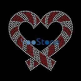 Tous les types de chocolat au coeur Candy Cane Hot Fix Transferts en strass Iron On Motif pour Tshirt à partir de transferts tshirt fabricateur