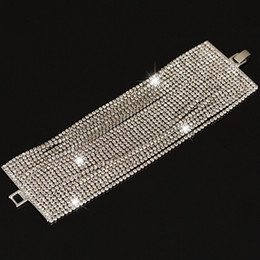 2017 New Luxury Austrian Crystal Bracelet for Women Silver plated 22 row Fashion Charm Bijoux Bracelets
