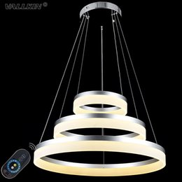 VALLKIN® DIMMABLE LED Pendant Lights Round DIY Styling Acryl Chandeliers Lighting Lamp Fixtures with 3 Ring AC100-240V CE UL FCC