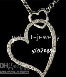 18K White Gold Crystal Double Heart Necklace