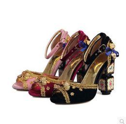 Perles de diamant hauts talons en Ligne-2017 printemps et d'été palais style rétro sandales gladiateur talon épais avec diamants brillant gemmes boucle sandale femmes perles chaussures talons hauts