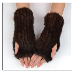 Hand Knitted Mink Fur Mittens Genuine Mink Fur Gloves Fingeless Women Mittens Winter Hand Warmer