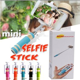 Foldable Super Mini Selfie Stick Wired Handheld Extendable Portable Monopod Wired Shutter Handle Compatible with Cell Phone