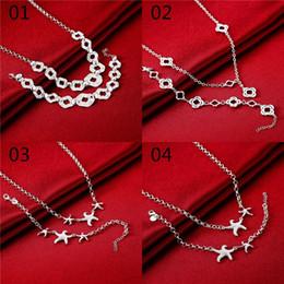 Acheter en ligne 925 ensembles de mariée-16sets / lot 2sets / le modèle a mélangé des ensembles de bijoux de mode d'ordre 925 sterling argenté le collier nuptiale de collier de bracelet de mariage ensembles # set145
