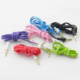 Flat Noodle 1M 3.5mm Audio Cable Male to Male Aux Cables Multicolour for MP3 iPhone Free DHL