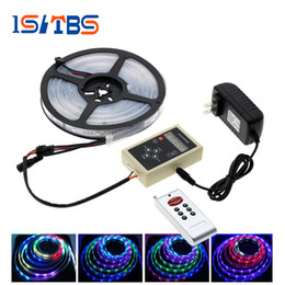 Acheter en ligne Couleur de rêve magique-6803 IC Magic Dream Couleur RGB LED Strip 5050 30LED / m Chasing Lights + 133 Programme RF Magic Controller + Adaptateur secteur