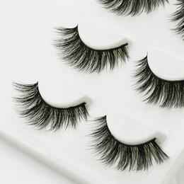 Promotion cils de scène 3D Tridimensionnelle multi-couches épais cils fausses tiges de coton faites à la main Fake Eyelashes Fumée Maquillage Maquillage Lashes Tool