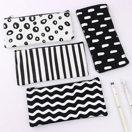 Simple Black and White Pencil Case School Pencil Case Black Stationery Pen Case Beautiful Pencil Bag