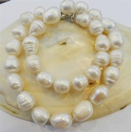 "BIG RICE SHAPE 12-13MM WHITE REAL NATURAL PEARL NECKLACE 18"" AAATR"