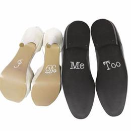 Mariage met en vente en Ligne-Hot Sale 1 Set Je fais moi trop mariée chaussure de marié autocollant blanc Clear Rhinestone Wedding Decor Free Shiping