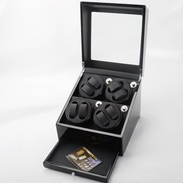 Free shipping 1 PCS Luxury Wood Black Auto Watch Winder 8 Watches High quality Easily stop the winder rotating by opening the cover