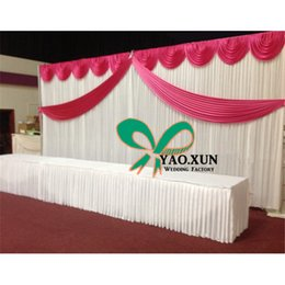 White Wedding Backdrop With Top And Middle Drape Swags for wedding banquet and party
