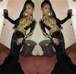 2K17 Gold Lace Appliques Sequined Mermaid Prom Party Dresses for Black Girls 2017 High Neck Long Sleeves African Evening Gowns