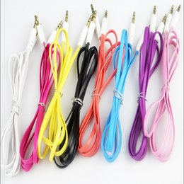 DHL Free Colorful Flat Noodle 3.5mm Aux Audio Auxiliary Cable Jack Male to Male Plug Stereo Cord Wire for iphone