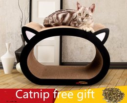 Coussinets de chat à vendre-Livraison gratuite chat chat animal Cat Kitten Carton ondulé Scratch Board Pad Scratcher Bed Claws Care Interactive Toy cat face