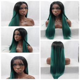 Middle Part Ombre Green Silky Straight Long Wigs Heat Resistant Glueless Synthetic Lace Front Wigs with Baby Hair High Quality