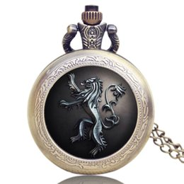 Wholesale Hot Selling Game of Thrones US TV Series House Lannister Theme Design Pocket Watch Men Pendant Watches for Fans P1144
