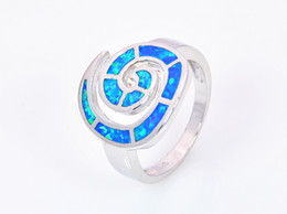 Wholesale & Retail Fashion Fine Blue Fire Opal Ring 925 Silver Plated Jewelry For Women RMF160326011