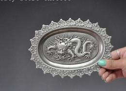 17 cm Decorer DE Noel Recueillir.tibet Argent Sculpte Chine Zodiac dragon statute Plaque disque Halloween