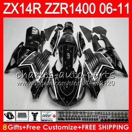 Body For KAWASAKI NINJA ZZR1400 14 R ZX14R 06 07 08 09 10 11 63HM12 ZZR 1400 ZX-14R ZX 14R grey black 2006 2007 2008 2009 2010 2011 Fairing