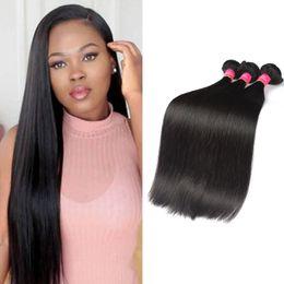 Promotion 18 black hair Whoseal 4Bundles 100% Malaisie Virgin Hair Extensions Mink 8A Grade Malaysian Straight Human Hair Weave 100% Natural Black Bundles