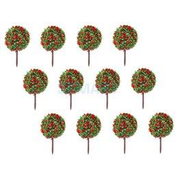 Цветковые деревья для продажи-Оптово-новый 2015 Новый 50шт Красный цветок модели Поезд HO Деревья мяч Shaped пейзаж Пейзаж 1/100 Масштаб Бесплатная доставка
