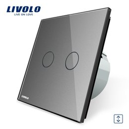 Livolo Luxury Grey Crystal Glass Panel Wall Switch, EU Standard Touch Control House Home Curtains Switch VL-C702W-15
