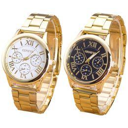 Clock Geneva Watch Women Roman Numerals Quartz Gold Stainless Steel Wrist Band Men s Watch Luxury Casual Quartz Watches Women