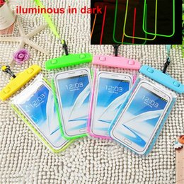 Luminous waterproof pouch clear dry bag light in dark 3.5-5.8'' neck pouch lanyard screen touch water proof bags pouch cases for iphone 8 7