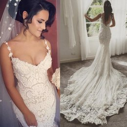 2017 Luxury Full Lace Pearls Lace Backless Wedding Dresses Spaghetti Straps Mermaid With Court Train Handmade Flowers Custom Made Bridal Gow