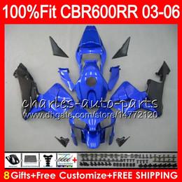 8Gifts 23Colors Injection For HONDA CBR 600RR F5 CBR 600 RR 05 06 43NO88 blue black CBR600RR 03 04 CBR600F5 CBR600 RR 2003 2004 Fairing kit