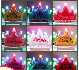 Non-Woven fabrics Led light birthday hat celebration hat crown girls and boys are in common use Festive & Party Supplies wholesale
